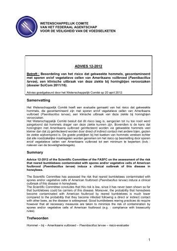 ADVIES 12-2012 van het Wetenschappelijk comité van het FAVV