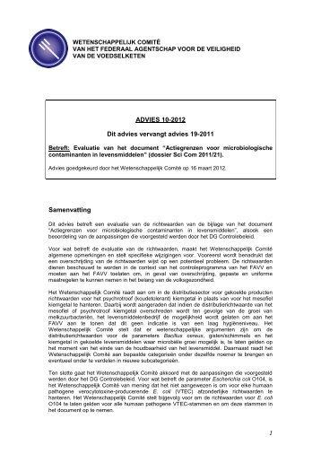 Advies 10-2012 van het Wetenschappelijk Comité van het FAVV
