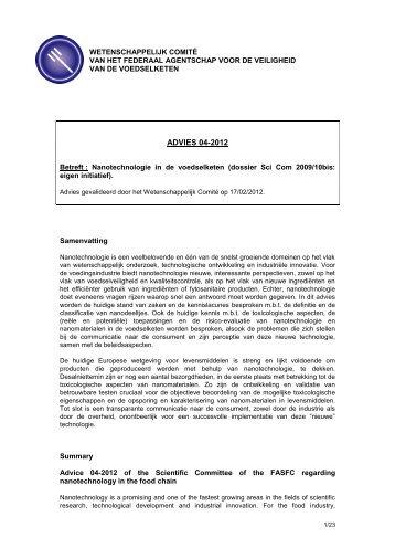 Advies 04-2012 van het Wetenschappelijk comité van het FAVV