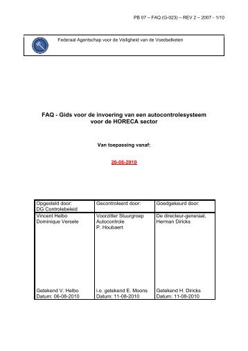 FAQ - Gids voor de invoering van een autocontrolesysteem ... - Favv