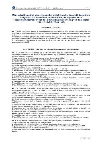 Ministerieel besluit tot uitvoering van het artikel 3 van het ... - Favv