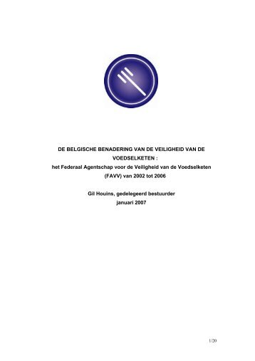 L'APPROCHE BELGE DE LA SECURITE DE LA CHAINE ... - Favv