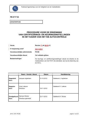 PROCEDURE VOOR DE ERKENNING VAN ... - Favv
