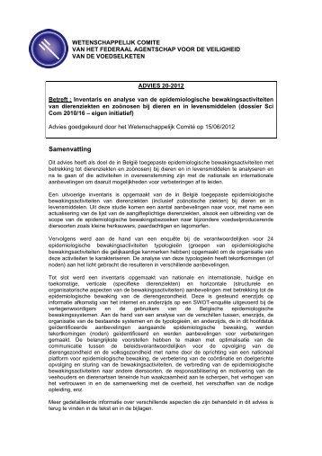 ADVIES 20-2012 van het Wetenschappelijk Comité van het FAVV