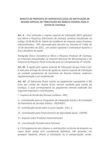 Minuta de Proposta de Dispositovp Legal de Instituiçao de Regimer ...