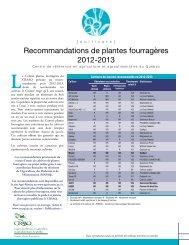 Recommandations de plantes fourragères 2012-2013 - Agri-Réseau