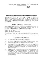 Haushalts- und Kassenordnung der Architektenkammer Sachsen