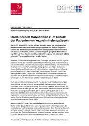 DGHO fordert Maßnahmen zum Schutz der Patienten vor ...