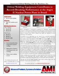 Orbital Welding Equipment Contributes to ... - Arc Machines, Inc.