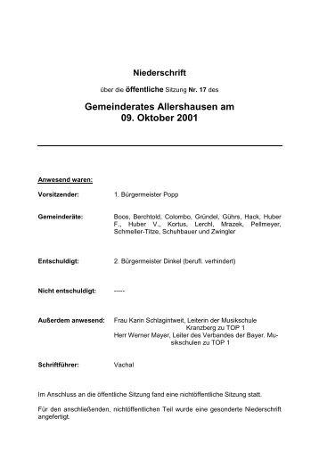 Niederschrift - Gemeinde Allershausen