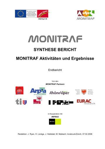 SYNTHESE BERICHT MONITRAF Aktivitäten ... - Alpine-space.org