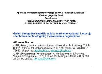 Galimi biologiškai skaidžių atliekų tvarkymo variantai Lietuvoje ...