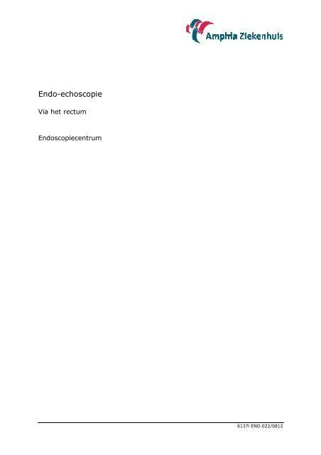 Endo-echoscopie, via het rectum - Amphia Ziekenhuis