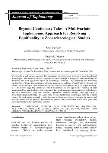 Journal Of Taphonomy