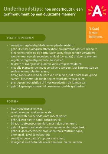 Onderhoudstips voor een grafmonument ( pdf ) - Stad Antwerpen