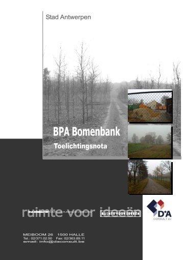 Toelichtingsnota BPA Bomenbank (deel 1) ( pdf ) - Stad Antwerpen
