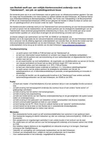 Competentieprofiel nieuwe medewerker steunpunt - Antwerpen.be