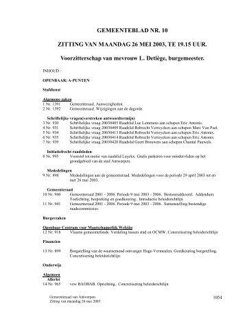 Verslag gemeenteraad 26/5/2003 ( pdf ) - Stad Antwerpen