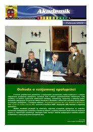 Dohoda o vzájomnej spolupráci - Akadémia ozbrojených síl gen ...