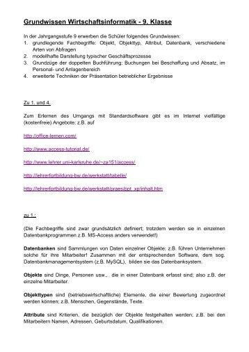 Grundwissen Wirtschaftsinformatik - 9. Klasse