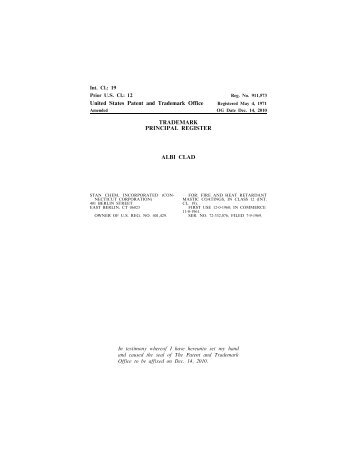 United States Patent and Trademark Office TRADEMARK ...