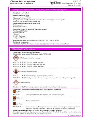 Ficha de datos de seguridad - AppliChem