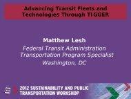 Advancing Transit Fleets and Technologies Through TIGGER