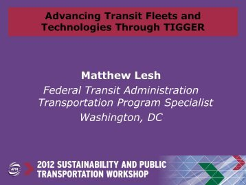 Advancing Transit Fleets and Technologies Through TIGGER