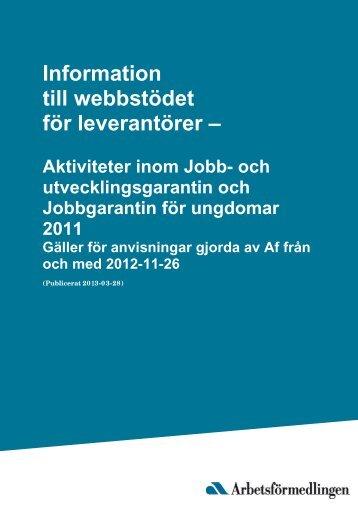 Information till webbstödet för leverantörer - Arbetsförmedlingen