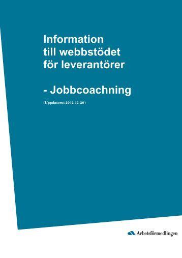 Infostöd för leveratörer - Jobbcoachning ver 3.0 - Arbetsförmedlingen