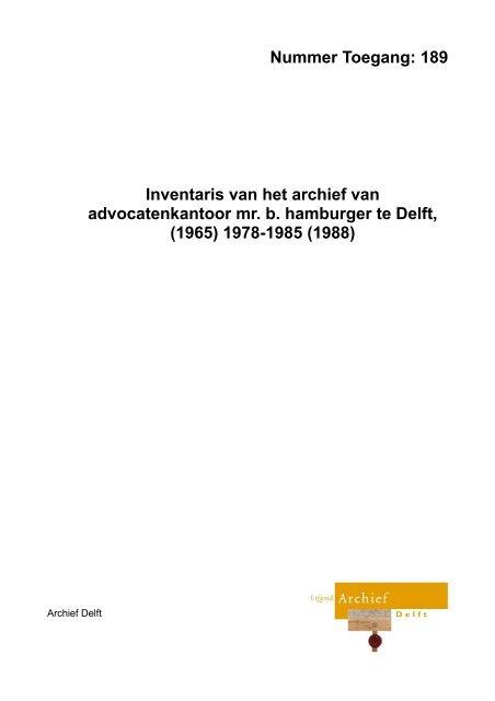 Advocatenkantoor Mr. B. Hamburger - Archief Delft