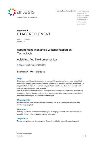 Bijlage 2 IWEM stagereglement - Artesis Hogeschool Antwerpen