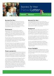 Ter Weer Newsletter 1 - American School of the Hague