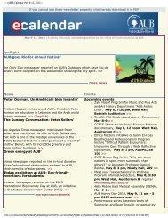 AUB E-Calendar May 6-12, 2013 - American University of Beirut