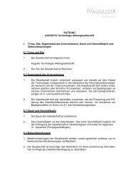SATZUNG AUGUSTA Technologie Aktiengesellschaft ... - Augusta AG