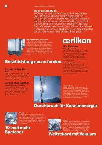 Beschichtung neu erfunden Durchbruch für Sonnenenergie - Oerlikon