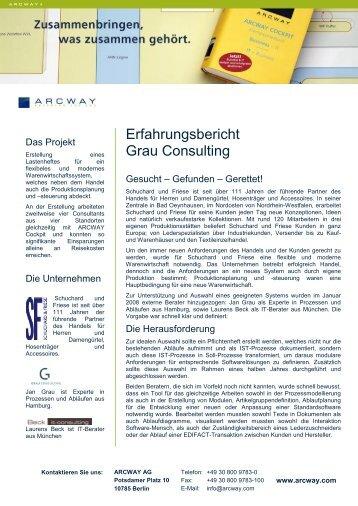Erfahrungsbericht Grau Consulting - Arcway AG