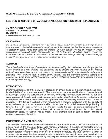 Economic Aspects of Avocado Production: Orchard Replacement