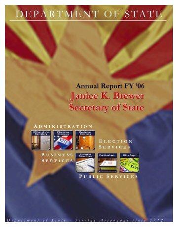 Secretary of State Annual Report - Arizona Secretary of State