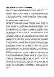 200 Jahre im Dienste der Gesundheit - Kurstadt Bad Berka