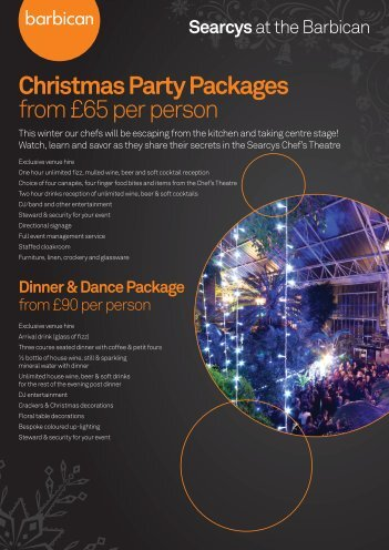 Christmas Party Packages from £65 per person - Barbican