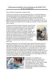 Naturwissenschaftliche Sommerakademie der BASF 2012 - BASF.com