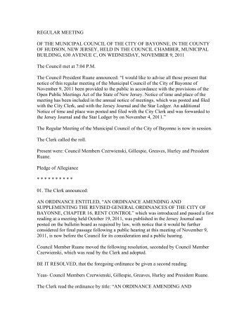 Bayonne Meeting Minutes – Municipal Council ... - City of Bayonne