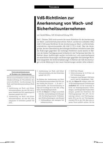 VdS-Richtlinien zur Anerkennung von Wach- und ... - BDSW