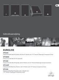 EUROLIVE VP2520/VP1800S/VP1520/VP1220F/VP1220 - Behringer