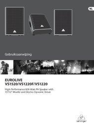EUROLIVE VS1520/VS1220F/VS1220 - Behringer