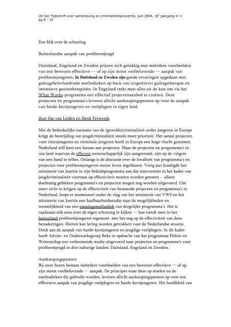 Een blik over de schutting Buitenlandse aanpak van ... - Bureau Beke