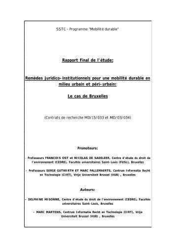 Rapport final de l'étude: Remèdes juridico-institutionnels pour une ...