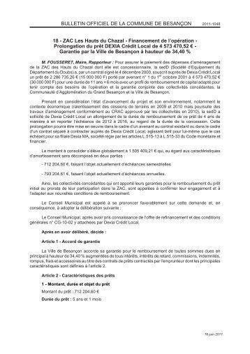 Prolongation du prêt DEXIA Crédit Local de 4 573 470,52 - Besançon