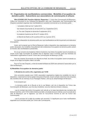 22/03/2012 - Deliberation - 015 - Organisation de ... - Besançon
